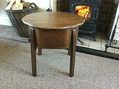 Art Deco Oak Sewing Box Side Table with satin lining