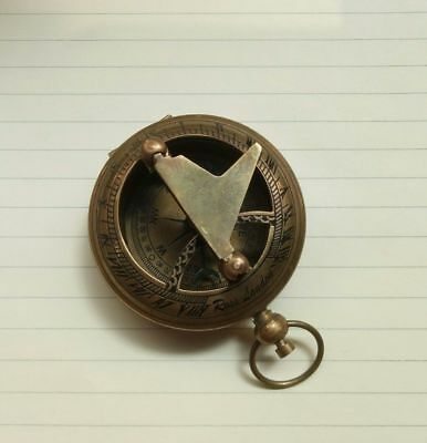 Nautical Working Hand-Made Push Button Working Antique Sundial Compass