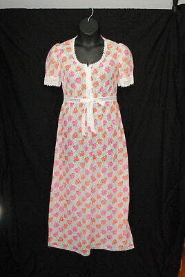 VTG 1970s Hanro of Switzerland Size 14 Robe Gown Set White Pink Orange Floral