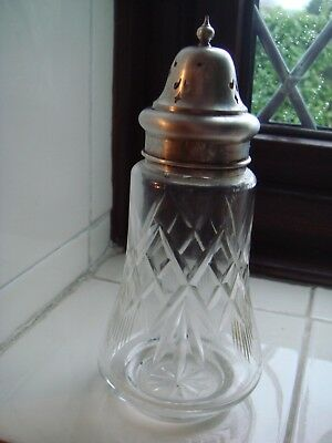 Cut Glass sugar shaker with EPNS top