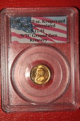 2000 Krugerrand Gold 1/10 OZ , PCGS UNCIRCULATED 9/11 Ground Zero Recovery