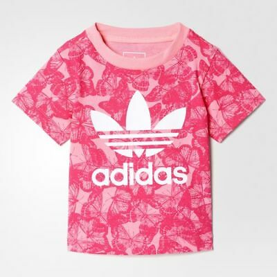 adidas girls pink butterfly infant / baby T shirt. Baby T shirt. Ages 0-6 years.