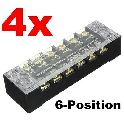 4pcs Block/Strip 6 Position Wire Barrier Dual Row Screw Terminal Panel  600V 15A