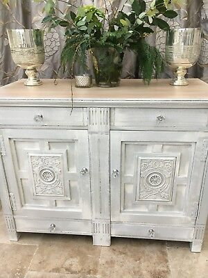 Antique Carved Heavy Sideboard Cupboard Painted Drawers Painted Georgian