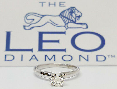 0.49 ct 14k White Gold & Platinum Leo Round Diamond Solitaire Engagement Ring