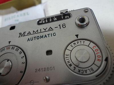 Mamiya 16  Automatic spy film camera, working with spools, box and manual, exc!