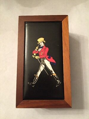 Rare - Johnnie Walker Small Wood Box Scotch Whiskey Collector Box - Brass Enamel