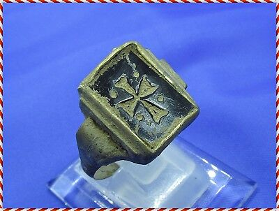Ancient Bronze Byzantine Ring Cross - Black Stone.