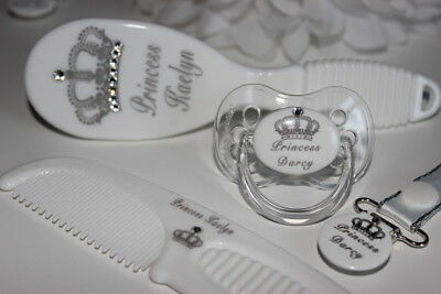 4 Piece Personalised ROYAL CROWN Gift Set - * Made with CLEAR Swarovski Gems *
