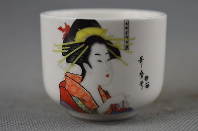 Collectable Handwork Decor Porcelain Paint Ancient Belle Special Auspicious Cup