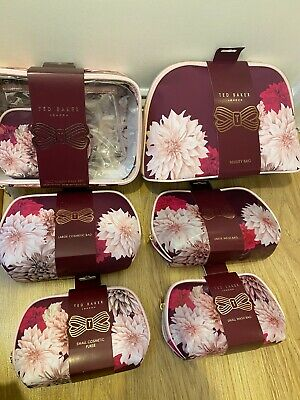 Ted Baker Beauty Wash bag Make Up pink Floral large small Vanity rose gold New