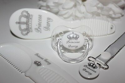4 Piece Personalised ROYAL CROWN Gift Set - ** WHITE **