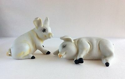 Vintage Bisque Ceramic Pig Figures Figurines - Pair Of White Pigs
