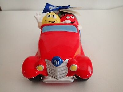 M&M's brand HOT ROD CERAMIC CAR; NEW w/TAG, sack of candy, plastic wrap, bow