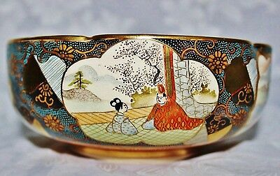 Antqiue Japanese KUTANI 九谷焼 Meiji Hand Painted Pictorial Lobbed Bowl Signed
