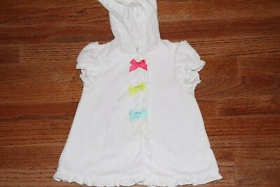 Toddler Girl LITTLE ME WHITE TERRY SHORT SLEEVE HOODED ROBE/COVER UP SZ 6-9 MOS