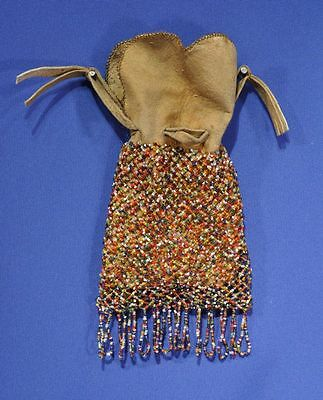"Cree Beaded Net Bag on Native Tanned Hide 5""  x 8 1/2"" + 2"" Fringe Drop c.1900"