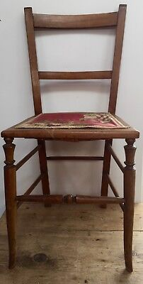 18-19th c Small Country Occasional Chair - FABRIC seat needs TLC / restoration