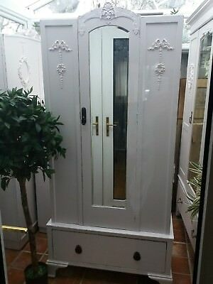 Adorable  Vintage Painted Slim Victorian Style Mirrored Wardrobe Shabby Chic