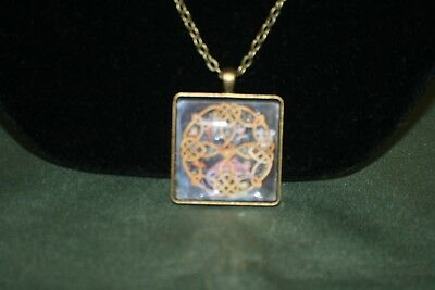 Celtic Bronze Square Nature Art Pendant - Round Gold Celtic Shield with Hearts