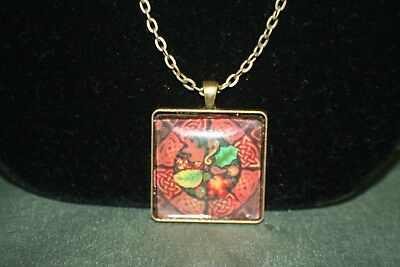 Celtic Bronze Square Nature Art Pendant - Celtic Shield with Leaves