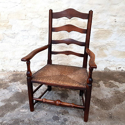 C19th Oak & Elm Country Ladderback Rush Seated Carver Open Armchair (Antique)