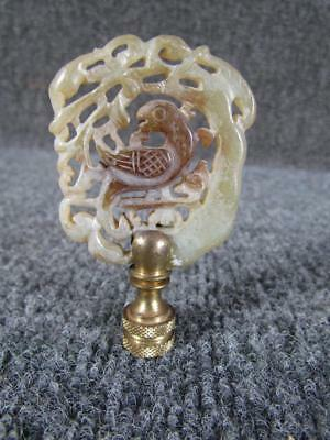 ANTIQUE CHINESE HARDSTONE AMULET or LAMP FINIAL, FIGURAL CARVED BIRD