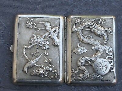 Chinese Export Silver Cigarette Case Solid Silver China Dragon