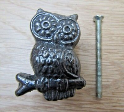 OWL KNOB Cast iron rustic vintage cabinet cupboard drawer knob handle