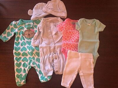 Lot Of Preemie Girl Clothes Premature Pajamas Hats Bodysuits And Pants