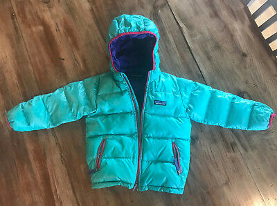 Toddler Patagonia hooded coat size 4t, teal with purple, great condition