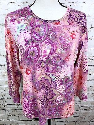Coldwater Creek Womens Top Size Large Pink Purple Paisley Print Stretch Knit
