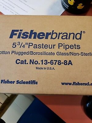 "245 Fisherbrand 5-3/4"" Cotton Plugged Glass Pasteur Pipets, 13-678-8A"
