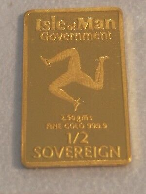 Rare rectangle gold 1/2 &1/5 sovereigns pobjoy mint isle of man
