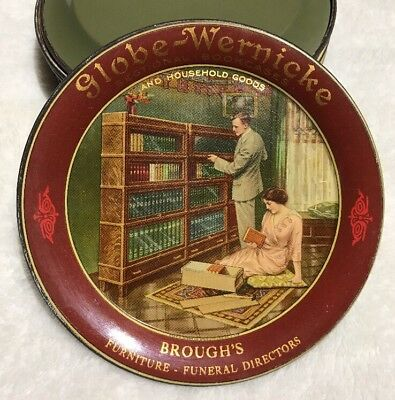 1910 Globe - Wernicke AND HOUSEHOLD GOODS Sectional Bookcases tin litho tip tray