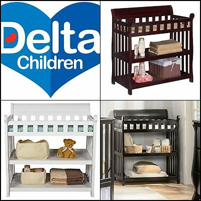 Delta Children Eclipse Changing Table Espresso Baby Diaper Cabinet Open Storage