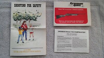 VINTAGE CROSMAN MODEL 760 Pumpmaster BB Air Rifle Owners Manual and other  Papers