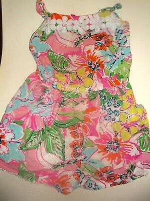 LILLY PULITZER for Target✿10/12✿ROMPER✿Cute Bright Colored Flwrs,Fabric Wht Flwr