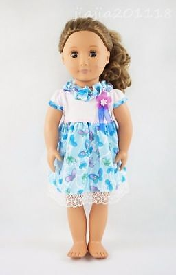 Blue Five Flower Skirt Party Dress Fit For 18'' American Girl Gift Doll Clothes