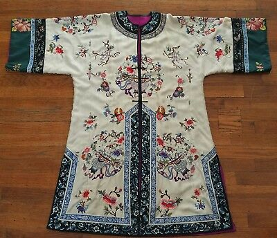 Antique Chinese Embroidered Silk Robe 19th/20th Century Forbidden Stitch Qing?