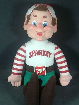 """Vintage 1983 """"Sparkly 7 UP"""" elf holiday helper plush doll  Excellent Condition!"""