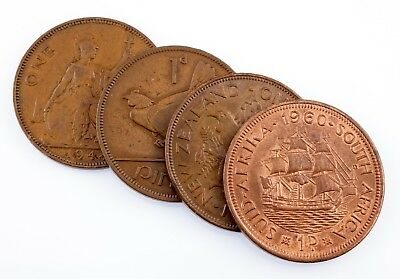 Lot of 4 British Commonwealth Large Pennys 1943 - 1960 Fine to Unc Condition