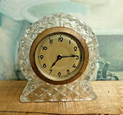 Vintage antique art deco 1930s crystal glass clock  parts restore repair display