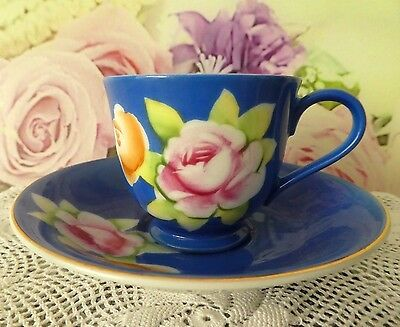 Vintage retro porcelain cup saucer duo Japan flowers roses Japanese china blue