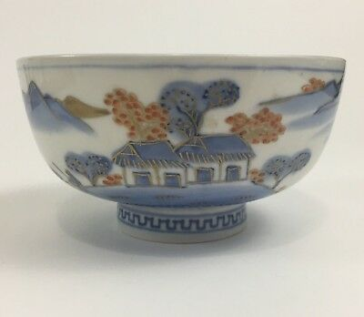 Antique Arita Imari Bowl Dish Blue and White Coral Gold Mountains Boat House