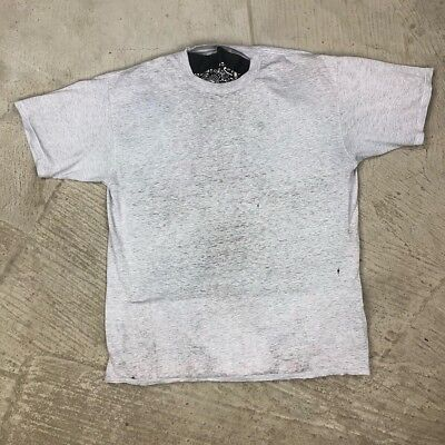 Worn Thin Basic Blank Faded T Shirt Sheer Heather Grey USA Made Soft Distressed