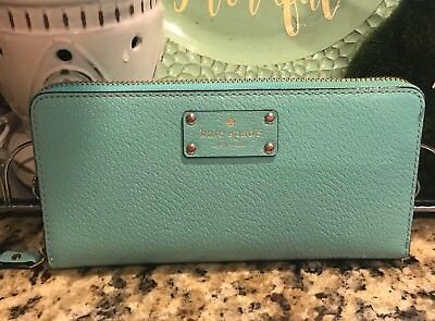 Nwt Kate Spade Aqua Teal Blue Green Zip Neda WELLESLEY  Leather Wallet $145