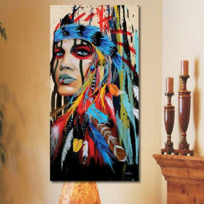 Abstract Indian Woman Canvas Colorful Painting Print Picture Home Wall Art Decor