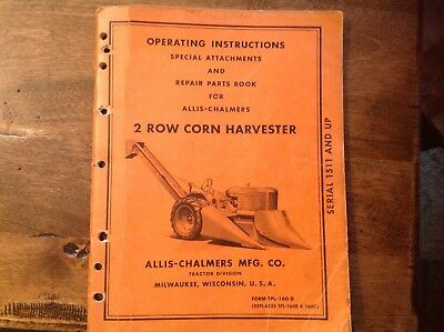 Allis Chalmers 2 Row Corn Harvester Operators & Parts Book Manual