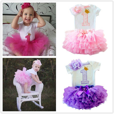 US Stock Baby Girl 1st First Birthday Dress Outfits Tutu Party Summer 3pcs Sets